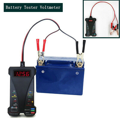 New 12 Motorcycle&Car Battery Tester Voltmeter Charging System Analyzer - Black