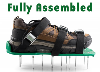 Fully Assembled Lawn Aerator Shoes - Heavy Duty Steel Spikes, Adjustable Straps,