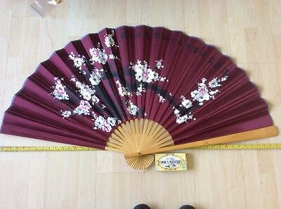 Large Decorative Vintage Japanese/ Chinese Folding Paper Fan
