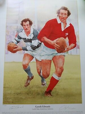 Magnificent Signed Sir Gareth Edwards Wales,british And Irish Lions. Rugby Print