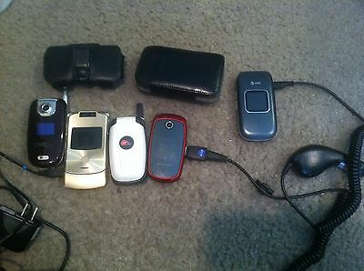 Lot Of 5 Vintage Working  Flip Cell Phones With Cords