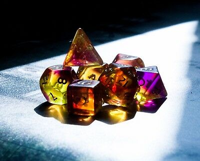 Blitz Dice Set - 7 Purple/yellow poly dice - Dungeons and Dragons - D20 RPG