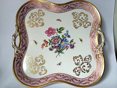 Antique Pirkenhammer Porcelain Hand Painted Serving Tray By Christian Fisher