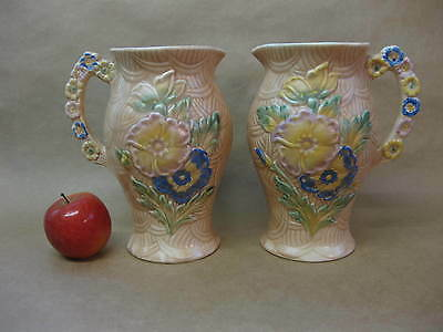 """Pair of Arthur Wood """"Wild Flower"""" Jugs / Vases ~ Moulded / Hand Painted ~ 1950's"""