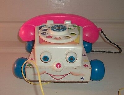 Vintage 1961 Fisher Price #747 Wooden Chatter Phone Rotary Telephone Pull Toy