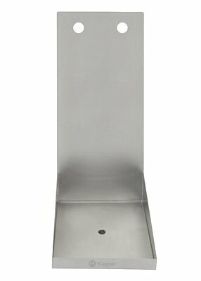 "8"" Kegco Stainless Steel Wall Mount beer Drip Tray with Drain - 2 Shank Holes"