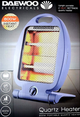 800W Daewoo Portable Oscillating Halogen Home & Office Electric Heater Heating