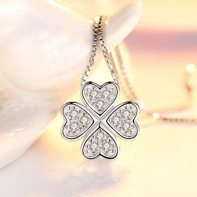 925 Sterling Silver Looped Floral Hearts Pendant Necklace Women's Jewelry Uk