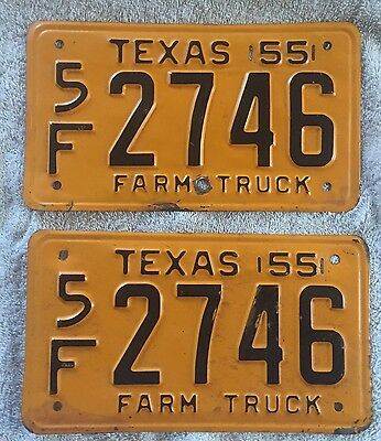 Solid Pair Of 1955 Texas License Plates    Lot Of 2  Free Shipping See My Store
