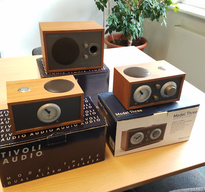 Tivoli Audio Model Three + Dual Alarm Speaker + Subwoofer SET in Kirsch Taupe