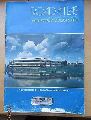 VINTAGE RAND McNALLY ROAD ATLAS-CANADA, USA, MEXICO- 1984 Auto-Owners Insurance
