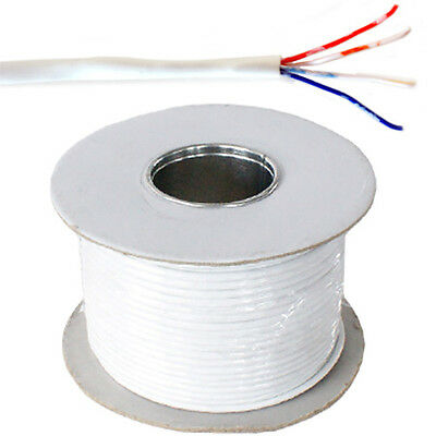 100 Mtr Reel  4 Core BT Telephone or Data Cable Copper White Solid Copper