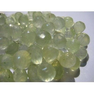 """Prehnite Faceted Tear Drop Beads 12x9mm To 10x7mm Briolettes 4"""" Strand 34 Pieces"""