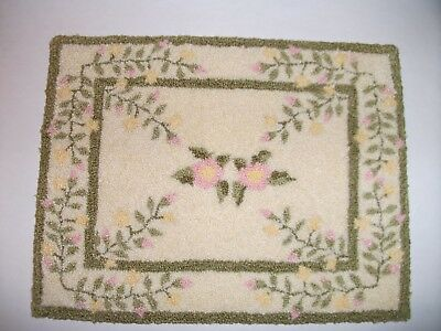 Punch Needle Dollhouse Rug with Pink and Yellow Flowers