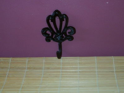 Cast Iron Hook Flower pot, coat, purse Fluer de lis shape.