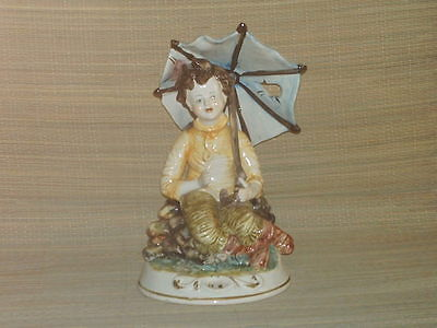 Vintage Capodimonte Figurine Girl, stone wall seat with umbrella hands clapping.