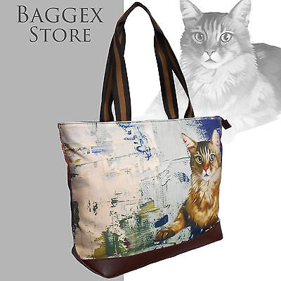 Furbabies Maine Coon Original portrait drawing printed Canvas Large Tote Bag