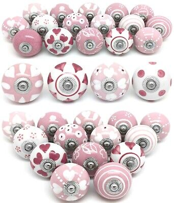 Sets of Pink & White Ceramic Door Knobs SECONDS Sets of 16, 14, 12 ,10, 8, 6, 4