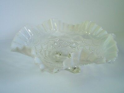 Opalescent White Clear Glass Bowl Ruffled Edge