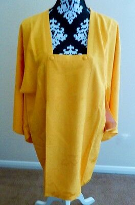 Vintage Japanese Ladies' Sunny Yellow Washable Michiyuki Kimono Coat S/M Long