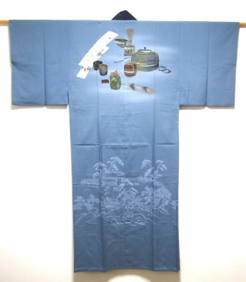 Vintage Men's Japanese Blue 'Tea Utensils' Nagajuban/Kimono/Robe Washable MEDIUM