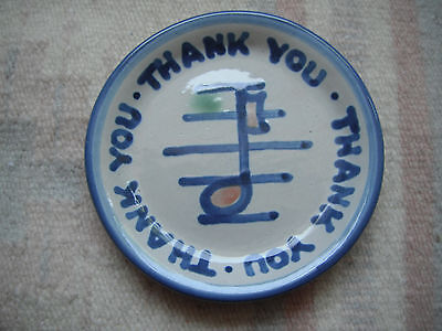 "Vintage M A Hadley ""Thank You"" Trinket/Pin Dish - Music Note on Staff Lines"