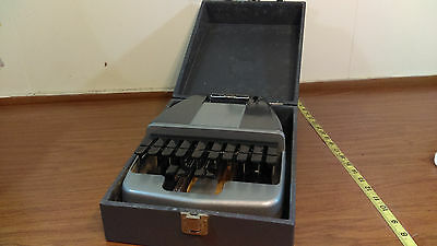 Vintage LaSalle La Salle Court Stenography Machine Stenotype case & paper works