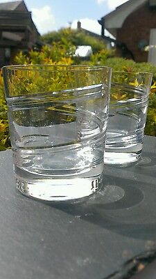 Pair large crystal whisky tumblers, double old fashioned. Unsigned. Stuart