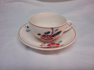 Teacup and Saucers Homestead Ware Fondeville England Red Flower Floral