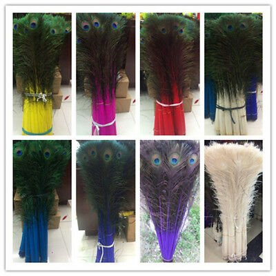 Wholesale-a-variety-of-colors-Peacock-feathers-eyes-10-100-pcs-long-30-32 inche