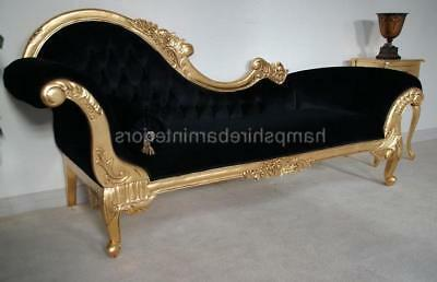 Large Left H Ornate French Style Chaise Longue Gold Leaf Black Velvet Mahogany