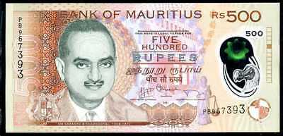 MAURITIUS -  500  RUPEES  2013  Prefix PB  - P 66a  Polymer Uncirculated