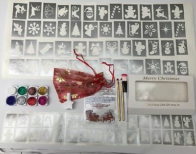 GLITTER TATTOO KIT Christmas  124 stencils 8 glitters  2 Glue Gift Box