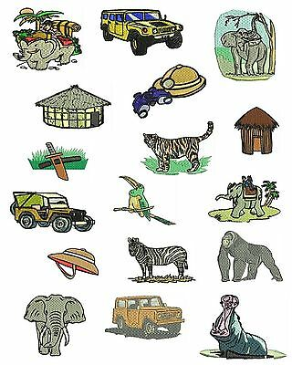 Safari Animals Machine Embroidery Designs, Elephant Designs, TSN Designs