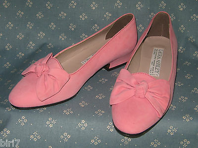 LAURA ASHLEY VINTAGE 90's BLOSSOM PINK SUEDE LEATHER COURT SHOES, EU36/UK3