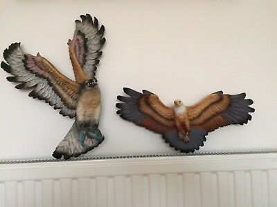 Fraser Art plaque's osprey with fish and eagle vintage 1970's
