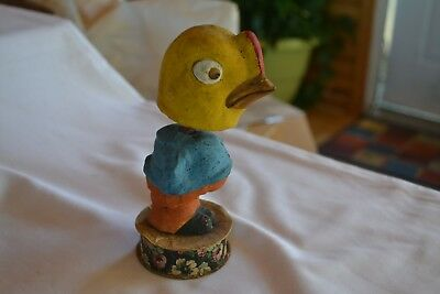 Paper Mache Chick Candy Container Nodder Early 1900's