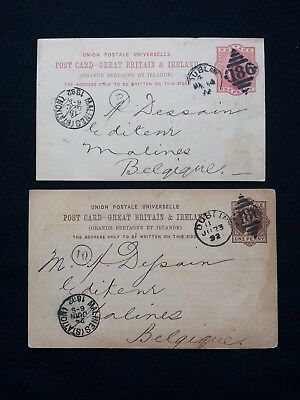 2 1892 QV 1d STATIONERY POST CARDS W H GILL & SON DUBLIN 186 DUPLEX TO BELGIUM