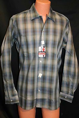 L TALL Blue Shadow Plaid NOS Vtg 50s 60s Truval Rockabilly Loop Mens Dress Shirt