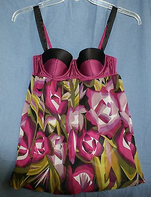 TARGET MISSONI Misses XS Baby Doll Bra Purple Satin Floral Cami Lingerie Small
