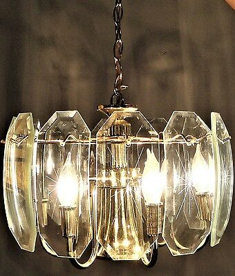 BEAUTIFUL Vintage Hanging Swag Light Fixture w/ Etched Glass Panels
