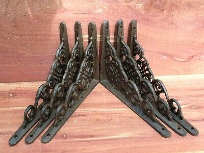6 Flower Wall Shelf Brace Shelf Bracket Corbel Cast Iron Rustic FREE SHIPPING