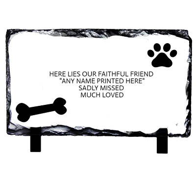 Personalised Dog Pet Memorial Plaque Made Of Slate 12 Cm X 22 Cm Grave Marker
