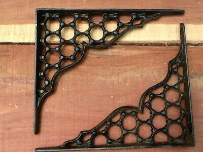 2 Webb Cast Iron Wall Shelf Brackets  Antique Style Corbell Rustic FREE SHIPPING