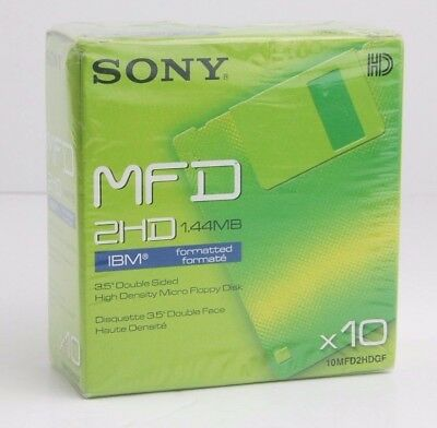 """SONY MFD 2HD x10 1.44Mb Formatted 3.5"""" Double Sided Floppy Disks 10MFD2HDGF"""