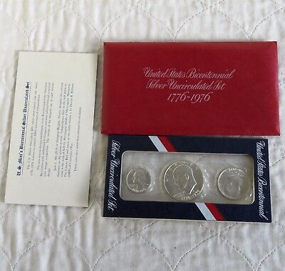 USA 1976 s BICENTENNIAL SILVER UNCIRCULATED 3 COIN SET - mint sealed pack