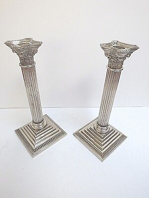Heavy Pair Of Silverplate Candlesticks Corinthian Square Base Marked