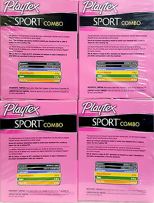 x4 PLAYTEX SPORT COMBO UNSCENTED 10 REGULAR 8 SUPER TAMPONS 14 ULTRA THIN PADS