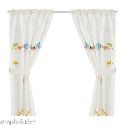 IKEA BARNSLIG RINGDANS Children Curtains 2 Pairs 4 Panels Tie-Backs Linen Cotton