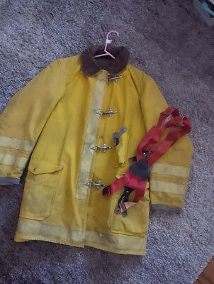 Vintage FIREFIGHTER JACKET FIREMANS YELLOW REFLECTIVE COAT & ORIGINAL SUSPENDERS